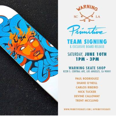 Warning Skate Shop South LA Primitive Team Signing